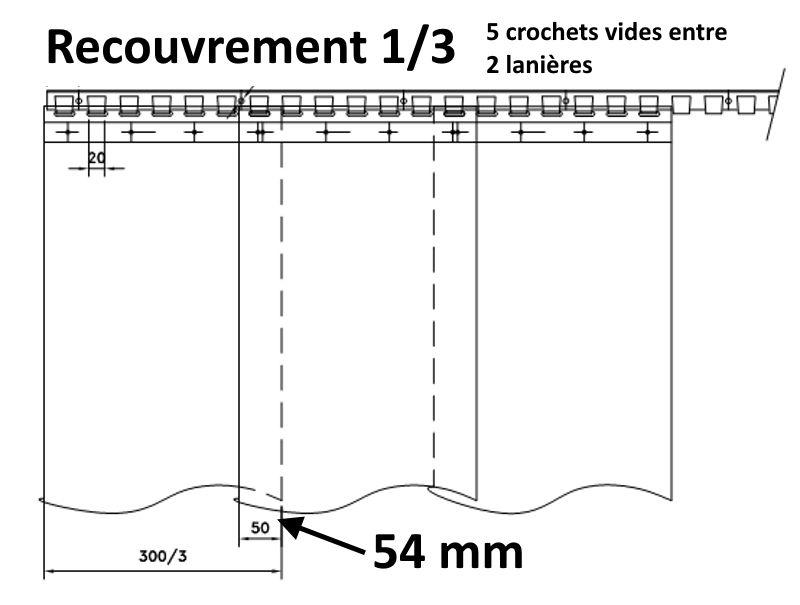 recouvrement 1/3 pour une laniere pvc de 300 mm
