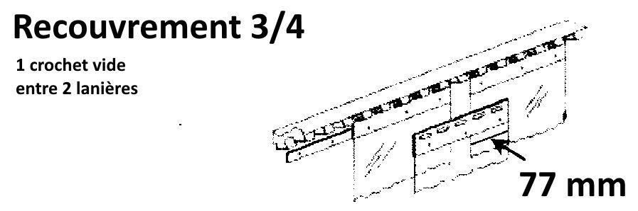 recouvrement 3/4 pour une laniere pvc de 200 mm